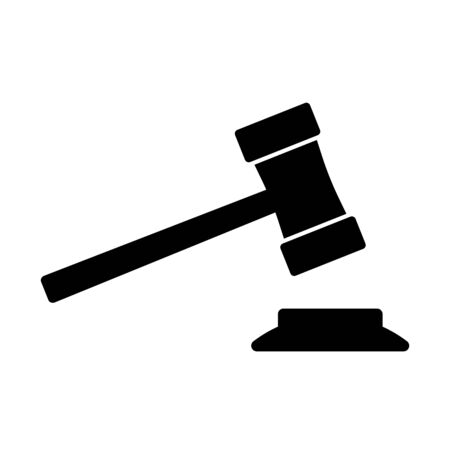 Gavel or ceremonial mallet icon. Small hammer for court of law, auction, meeting or ceremony. Vector Illustration Vettoriali