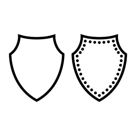 Shield line icon. Armored defensive shield as symbol of protection and security. Vector Illustration Ilustração
