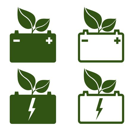Green automotive battery icons. Battery for electric or hydrogen cars, trucks and other motor vehicles. Vector Illustration  イラスト・ベクター素材