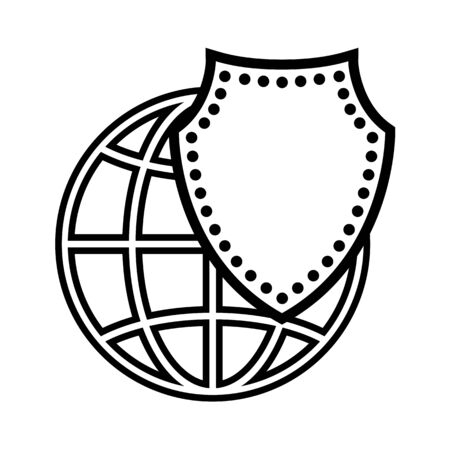 Protected Earth line icon. Globe and protecting shield. Vector Illustration