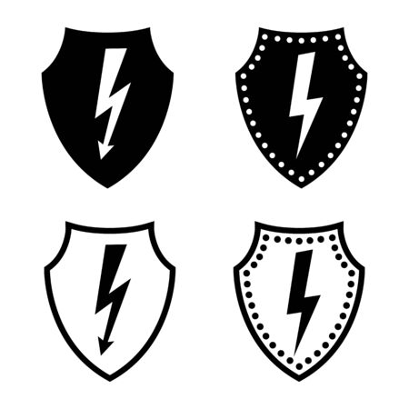 Voltage protection icon. Defensive shield and electricity or current sign