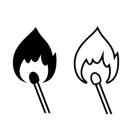 Burning match icon. Traditional wooden match and fire flame. Vector Illustration