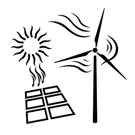 Renewable energy icon. Solar battery and windmill as renewable power sources. Vector Illustration
