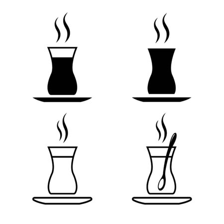 Set of Turkish tea icons. Glass of hot and strong traditional black tea. Vector Illustration