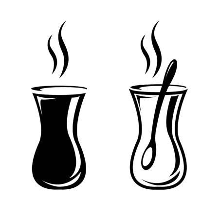 Turkish tea icon. Glass of hot and strong traditional black tea. Vector Illustration