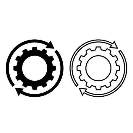 Rotating cogwheel or gear icon. Moving cogs with circular arrows. Vector Illustration