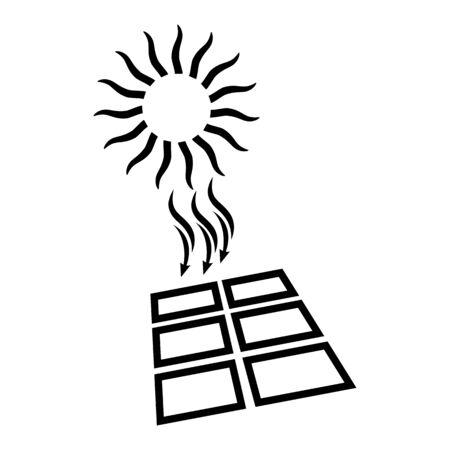 Solar energy icon. Shining sun and solar battery. Vector Illustration  イラスト・ベクター素材