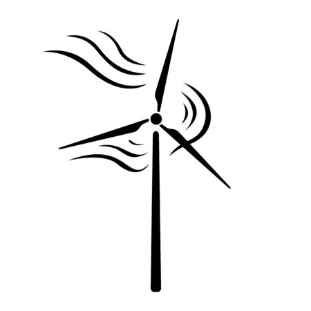 Wind energy icon. Rotating windmill blades. Vector Illustration