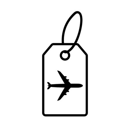 Air baggage tag line icon. Flight tag for checked luggage with airplane sign. Vector Illustration