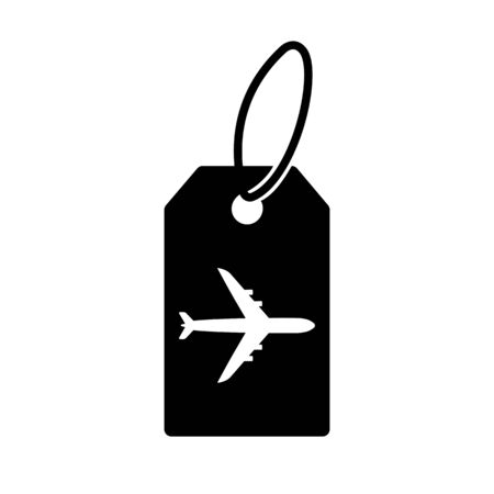Air baggage tag icon. Flight tag for checked luggage with airplane sign. Vector Illustration