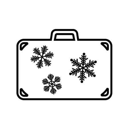 Line icon of suitcase for winter holidays. Travel bag, baggage or luggage with snowflakes. Vector Illustration