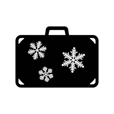 Icon of suitcase for winter holidays. Travel bag, baggage or luggage with snowflakes. Vector Illustration