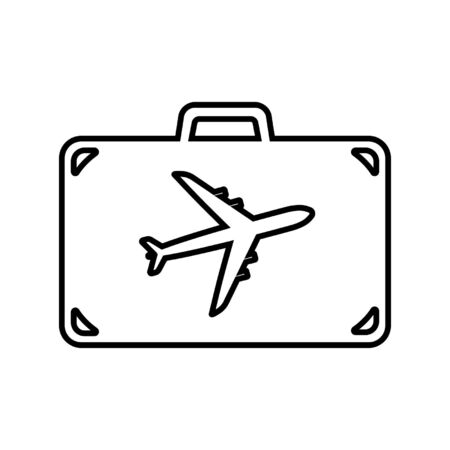 Line icon of suitcase for air travel. Travel bag, baggage or luggage with airplane. Vector Illustration