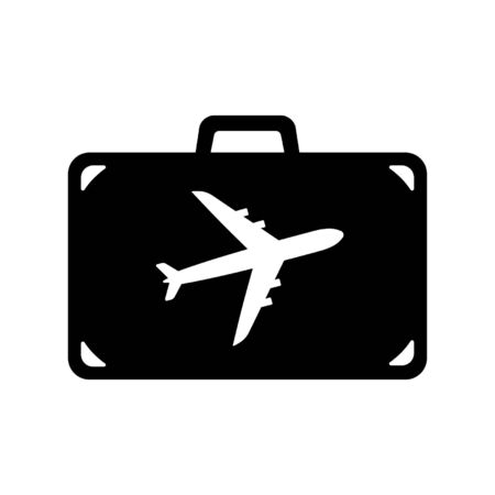 Icon of suitcase for air travel. Travel bag, baggage or luggage with airplane. Vector Illustration