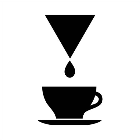 Cup of drip coffee icon. Filter coffee drop and larger cup on saucer. Vector Illustration
