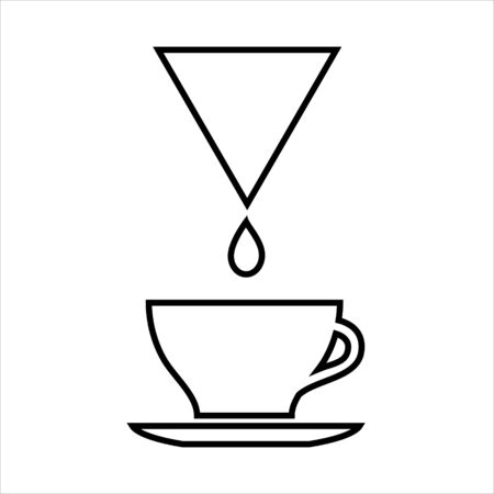 Cup of drip coffee line icon. Filter coffee drop and larger cup on saucer. Vector Illustration