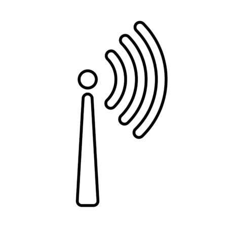 One-way signal transmission line icon. Antenna or broadcasting tower and signal waves. Vector Illustration