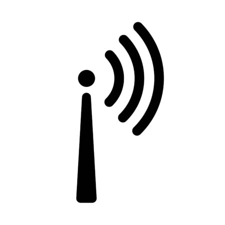 One-way signal transmission icon. Antenna or broadcasting tower and signal waves. Vector Illustration
