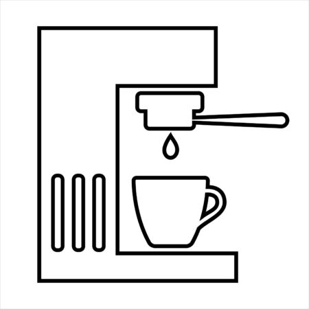 Coffee machine line icon. Coffee maker with portafilter and cup. Vector Illustration