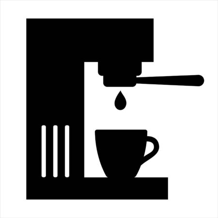 Coffee machine icon. Coffee maker with portafilter and cup. Vector Illustration