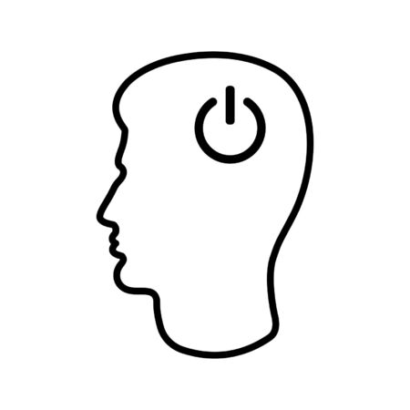 Line icon of man's head and power button. Concept of thinking or action start. Vector Illustration