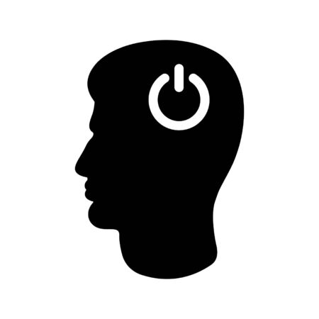 Icon of man's head and power button. Concept of thinking or action start. Vector Illustration