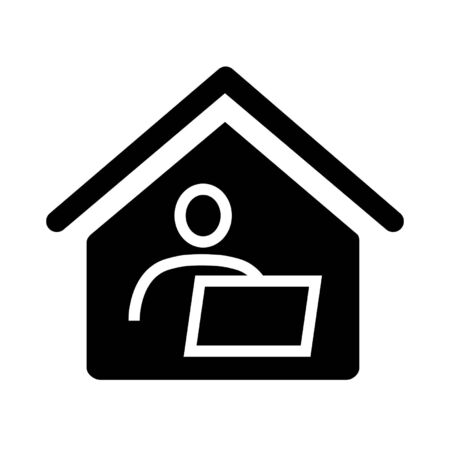 Home office, long-distance or remote work icon. Man and computer inside house. Vector Illustration 일러스트