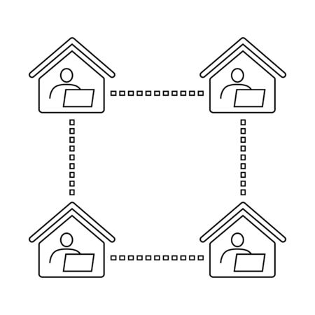 Home office, long-distance or remote work line icon. Connected men and computers inside houses. Vector Illustration