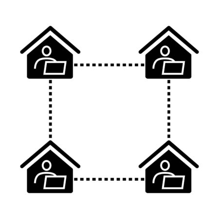 Home office, long-distance or remote work icon. Connected men and computers inside houses. Vector Illustration