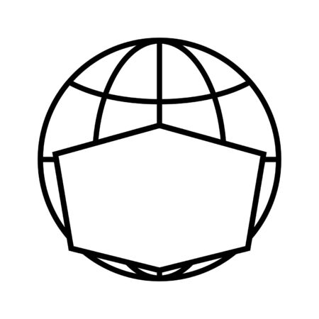 Line icon of globe in face mask. Protection of planet from COVID-19 coronavirus infection or other biological or environmental danger. Vector Illustration 일러스트