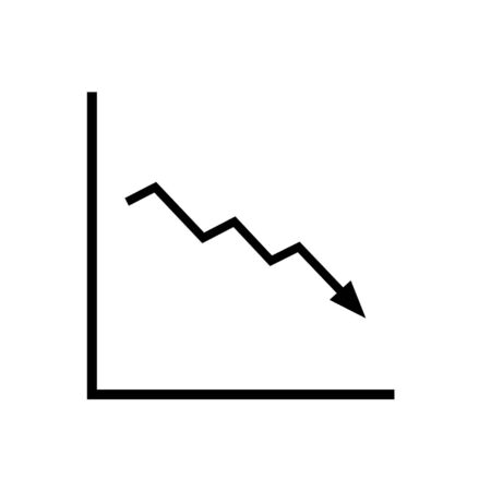 Decline trend icon. Presentation chart with zigzag downward line. Vector Illustration 일러스트