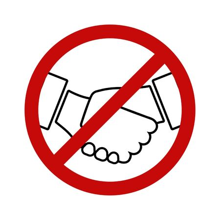No handshaking line icon. Symbol of social distancing or contactless interaction. Vector Illustration