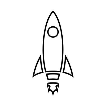 Rocket line icon. Spaceship or any vessel designed for spaceflight. Vector Illustration Stock Illustratie