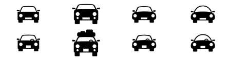 Set of icons representing car, automobile or motor vechile. Vector Illustration Illustration