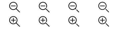 Set of line icons representing zoom Vector Illustration. Zoom in and out symbols of magnifier with plus and minus
