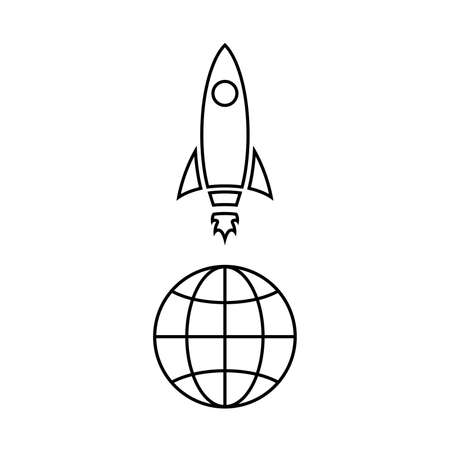 Line icon of rocket above. Spaceship launch or takeoff. Vector Illustration