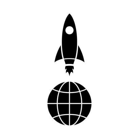 Icon of rocket above. Spaceship launch or takeoff. Vector Illustration