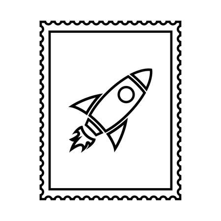 Postal stamp line icon with rocket. Spaceship postal stamp with perforation holes. Vector Illustration