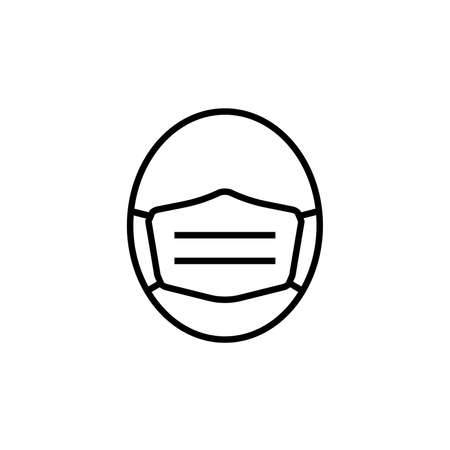Line icon of face in medical mask. Man's face in protective surgical mask or respirator. Vector Illustration Stock Illustratie