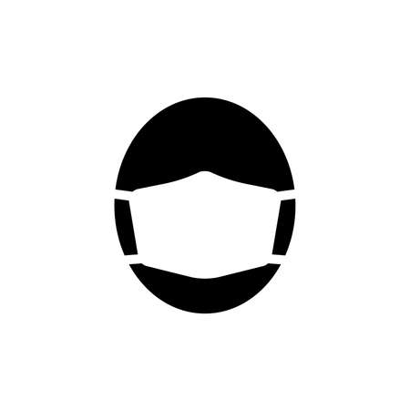Icon of face in medical mask. Man's face in protective surgical mask or respirator. Vector Illustration Stock Illustratie