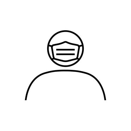 Line icon of person in medical mask. Man in protective surgical mask or respirator. Vector Illustration Stock Illustratie
