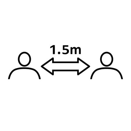 Social distancing line icon. People divided by 1.5 m distance line. Vector Illustration Stock Illustratie