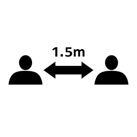 Social distancing icon. People divided by 1.5 m distance line. Vector Illustration