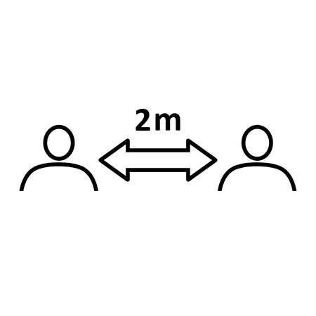 Social distancing line icon. People divided by 2 m distance line. Vector Illustration Stock Illustratie