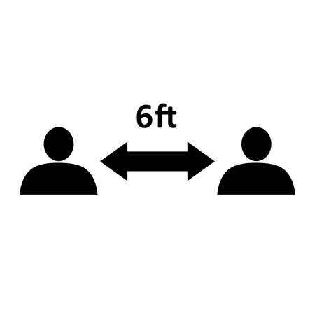 Social distancing icon. People divided by 6 feet distance line. Vector Illustration