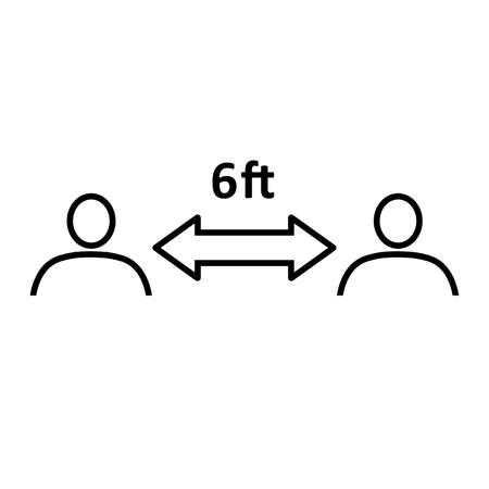 Social distancing line icon. People divided by 6 feet distance line. Vector Illustration