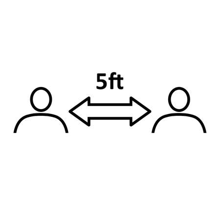 Social distancing line icon. People divided by 5 feet distance line. Vector Illustration