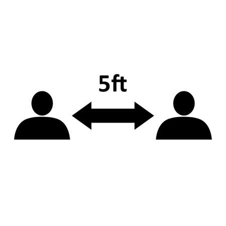 Social distancing icon. People divided by 5 feet distance line. Vector Illustration