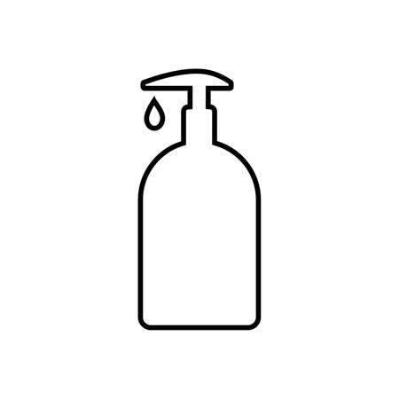 Line icon of bottle or container with dispenser of liquid. May represent sanitizer, disinfectant, antiseptic, soap or cosmetic liquid, cream or lotion. Vector Illustration