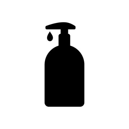 Icon of bottle or container with dispenser of liquid. May represent sanitizer, disinfectant, antiseptic, soap or cosmetic liquid, cream or lotion. Vector Illustration